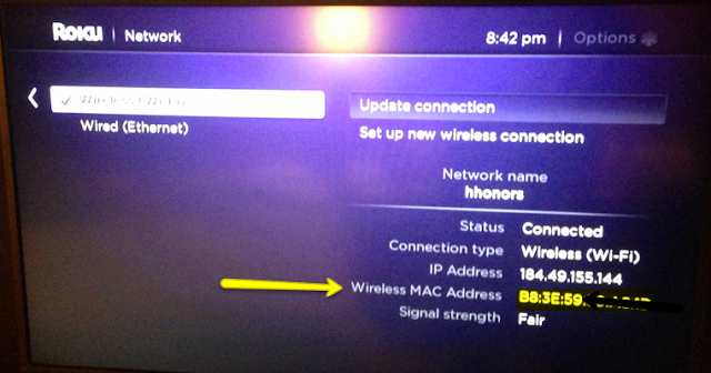 Roku MAC Address Howto Use Roku at a Hotel