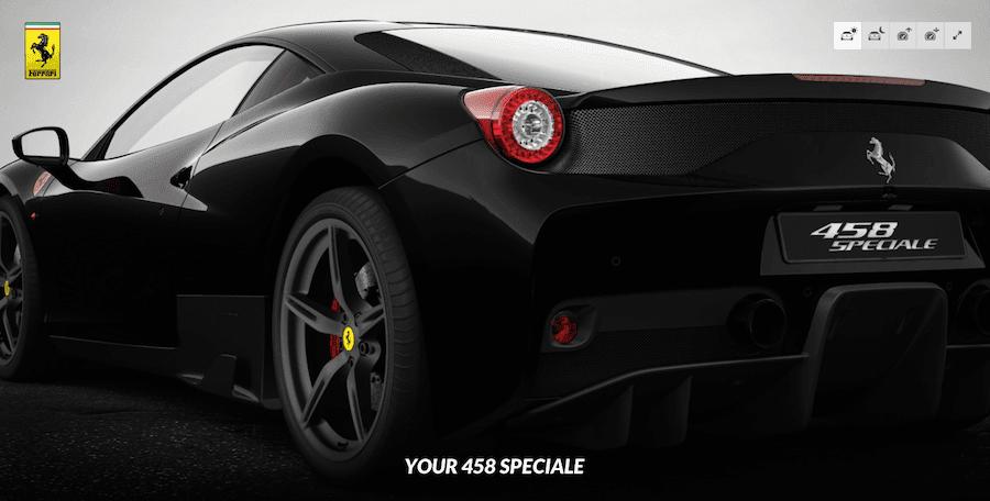 「フェラーリ458スペチアーレ」のコンフィギュレーター