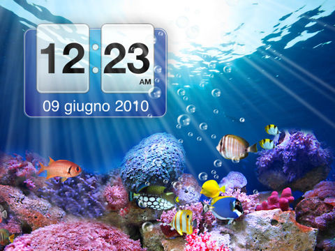 Unacquario Tropicale Sullipad Con The Amazing Aquarium Clock Hd