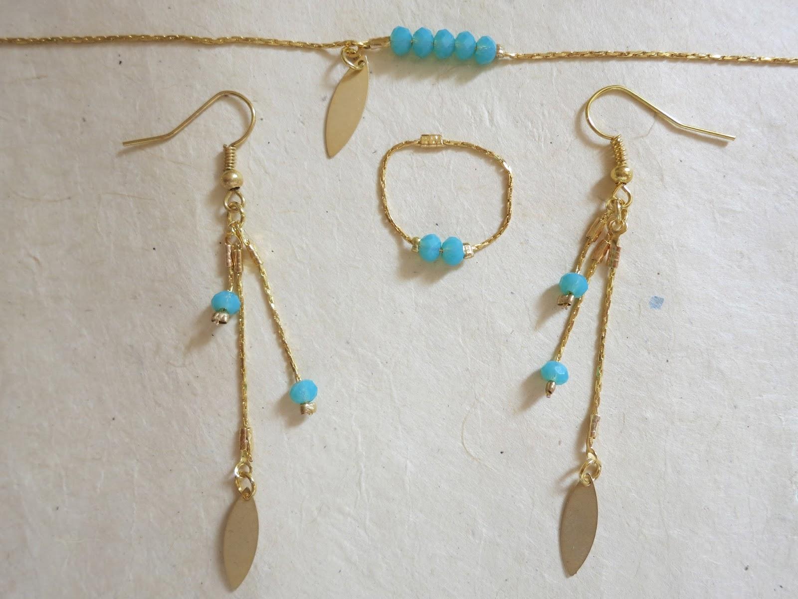 L 39 atelier de kalua tuto bijou 3 une parure dor e et turquoise les boucles d 39 oreille - Tuto boucle d oreille perle ...