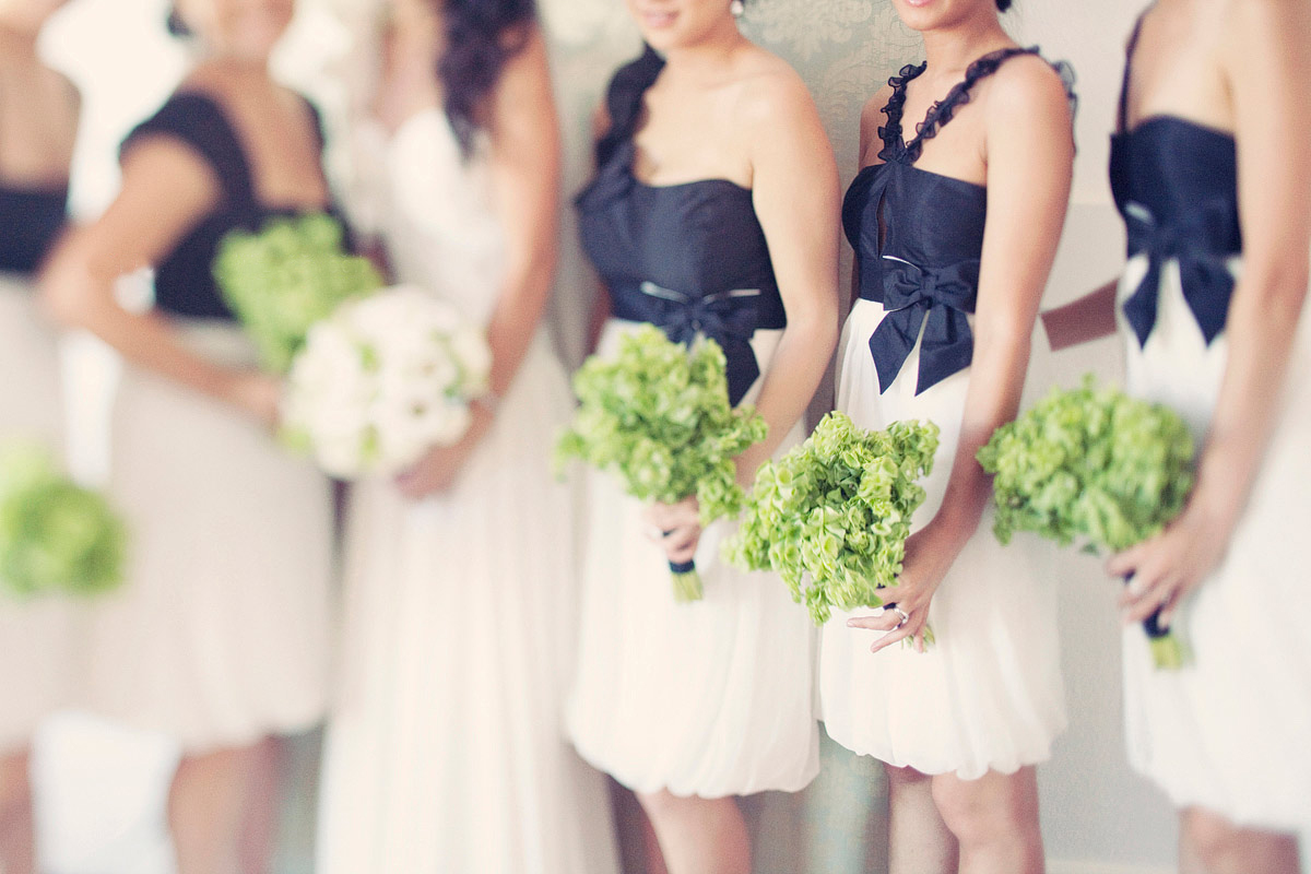 black and white bridesmaid dresses
