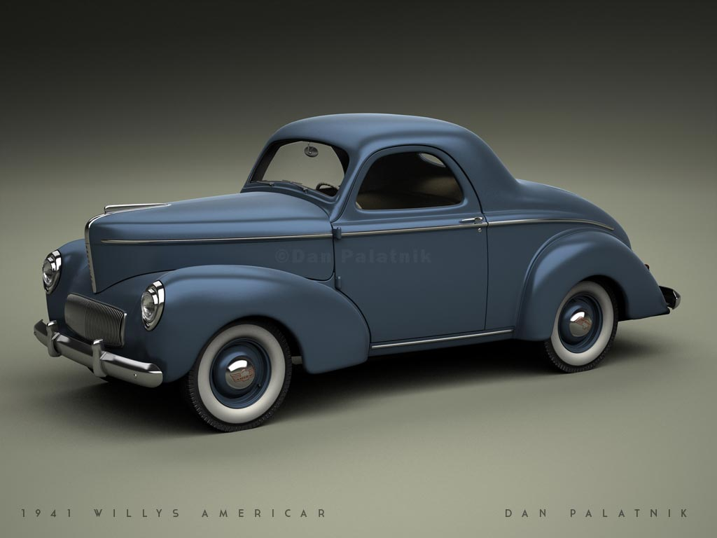 1941 willys americar coupe studio renders