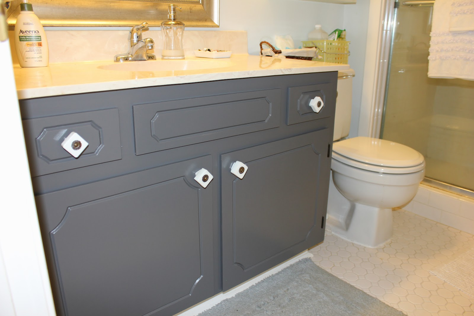 Peahen Pad Gray Bathroom Cabinets