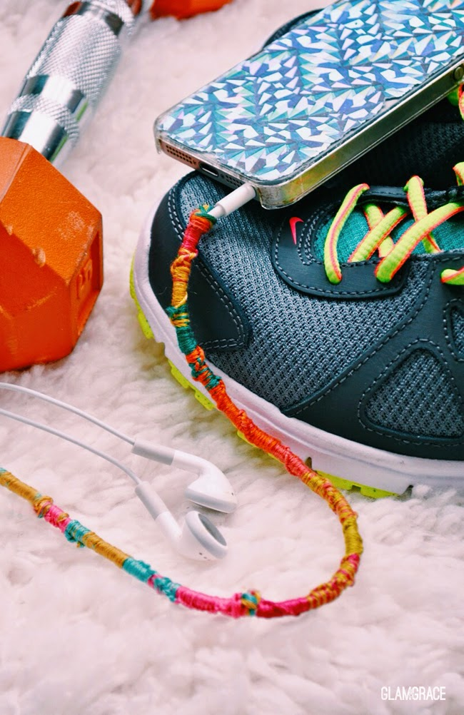DIY styled workout gear - wrapped earphones