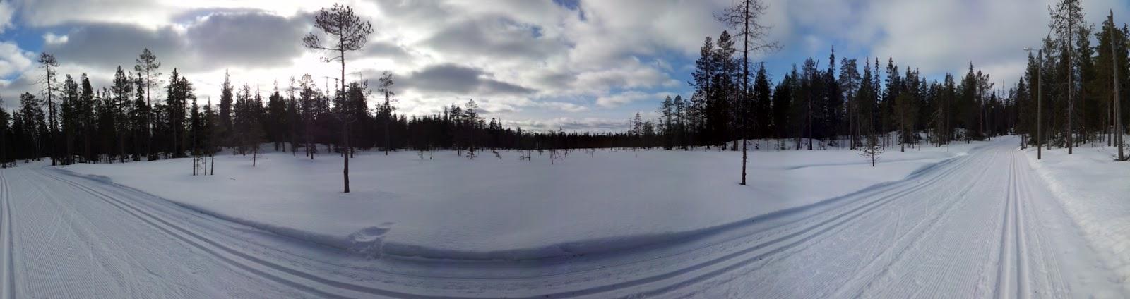 Panoramafoto tijdens het langlaufen