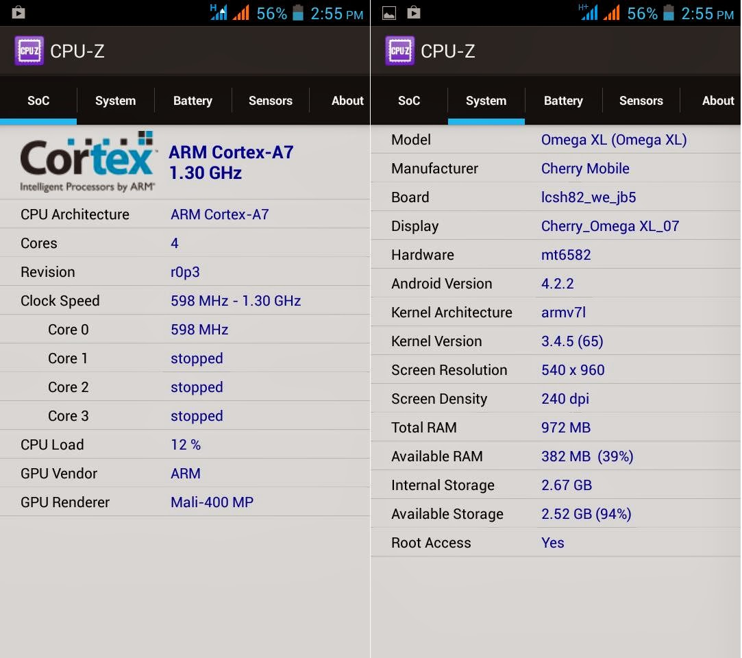 Cherry Mobile Omega XL CPU-Z Info