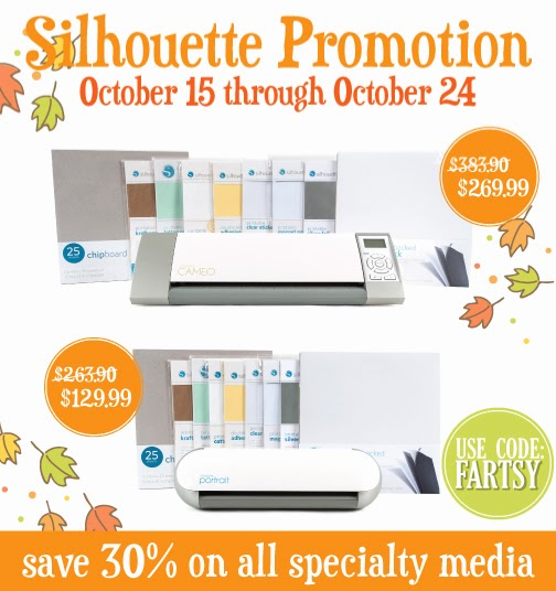 Silhouette October Promotion through October 15th-24th at artsyfartsymama.com