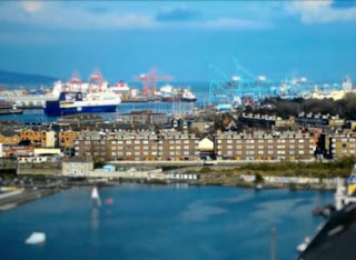 Ringsend and Dublin Port as viewed through this tilt shift video