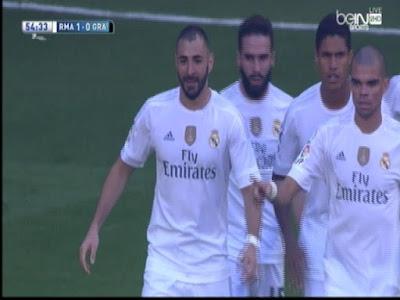اهداف مباراة ريال مدريد وغرناطة 1-0 هدف بنزيمة (19-9-2015) الدوري الاسباني