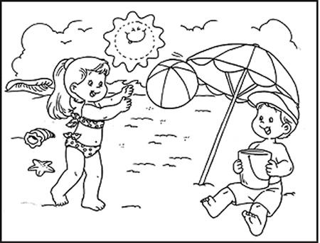 Dibujos para colorear de niños jugando en la playa - Imagui