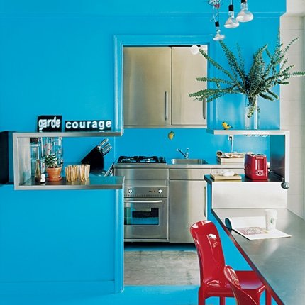 Cocina de color azul el ctrico c mo dise ar cocinas for Cocina pintura pato azul