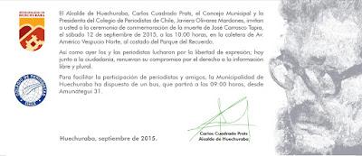 INVITACION CEREMONIA DE CONMEMORACION MUERTE DE JOSE CARRASCO TAPIA