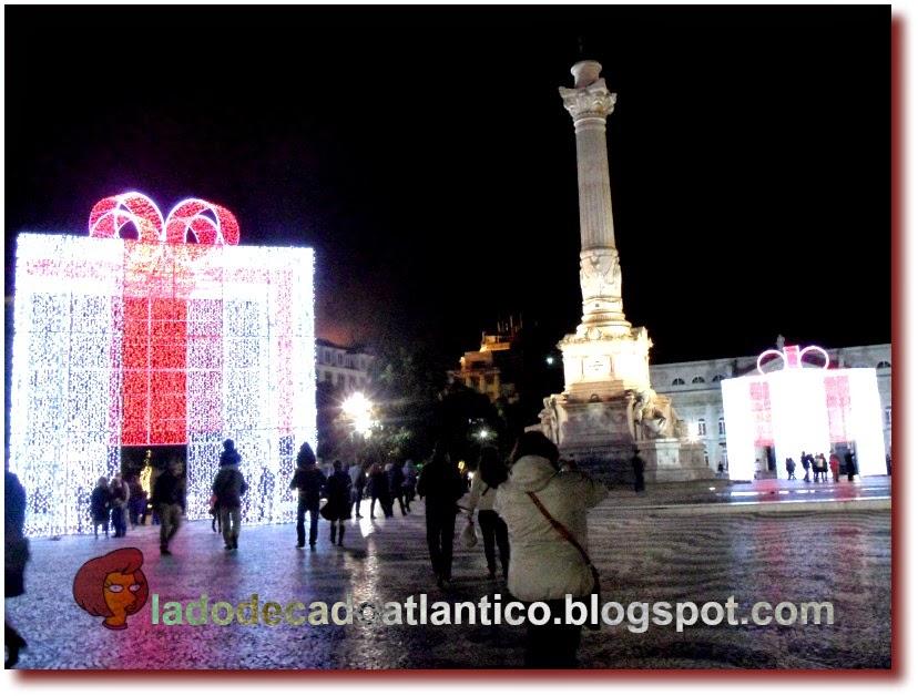 Decorações do Natal de 2014 da Praça Dom Pedro IV (Pedro I no Brasil), também chamada de Pça do Rossio, em Lisboa