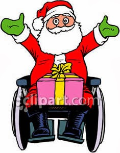 Illustration of Santa Clause sitting in a wheelchair, smiling, arms wide open, with a wrapped present on his lap