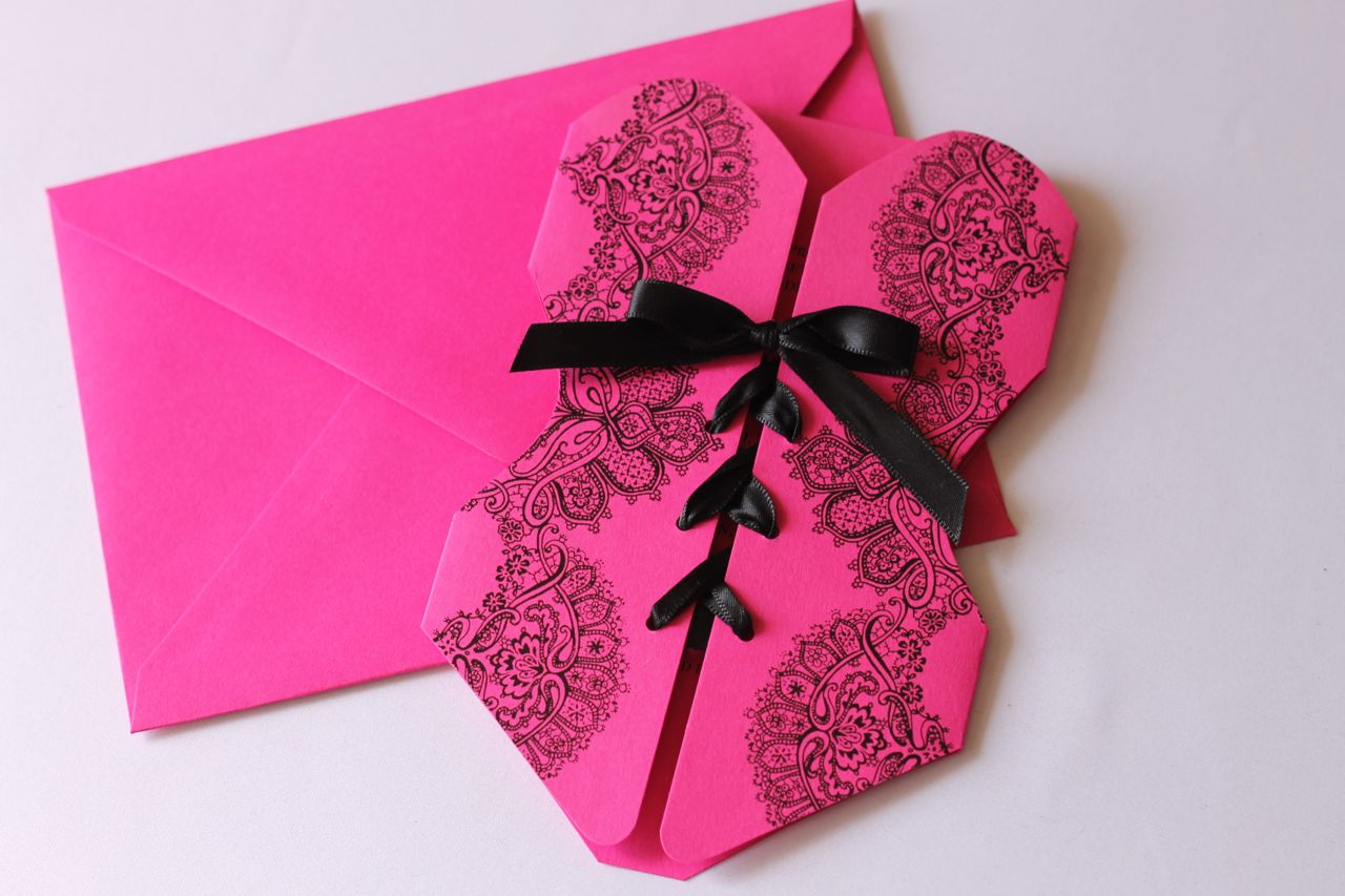 Corset Lingerie Invitation in Hot Pink - Embellished Paperie LLC