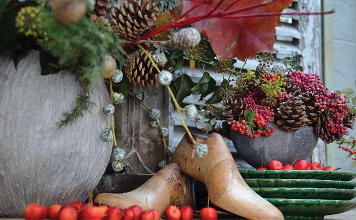 decoración navideña  arreglo floral naturales caseros-