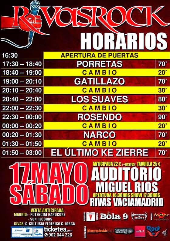 Rivas, Rock, 2014, cartel, horarios