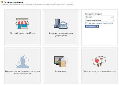 первый шаг создания страницы блога в Facebook - выбор типа страницы и её дополнительных параметров, например категории