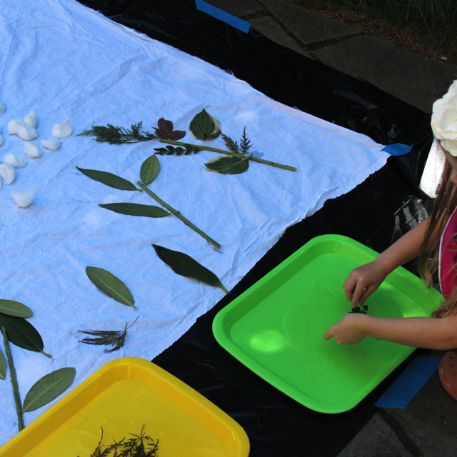 Kid Made Nature Batik Quilt. Use objects from nature as a resist and create a gorgeous quilt using batik dyes.