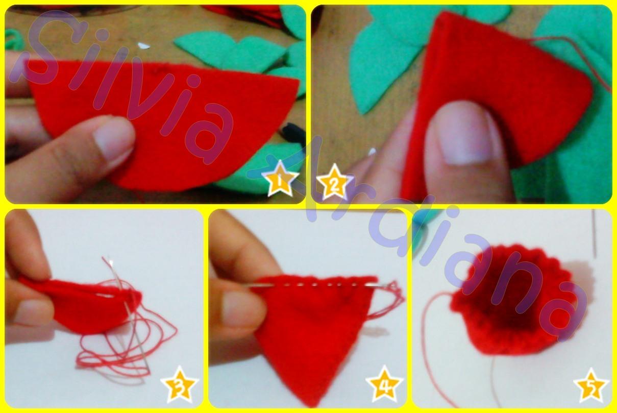 Potong kain flanel berbentuk lingkaran berdiameter 8cm (ukurannya ...