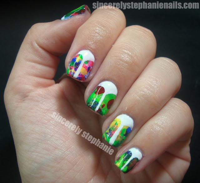 splatter v-gap nail art