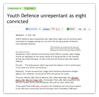 Youth Defence unrepentant as eight convicted. Hi! I can't be arsed typing up the displayed text, but it's available if you click the link to the Independent article. Gimmie a break, it's nearly 11 :)