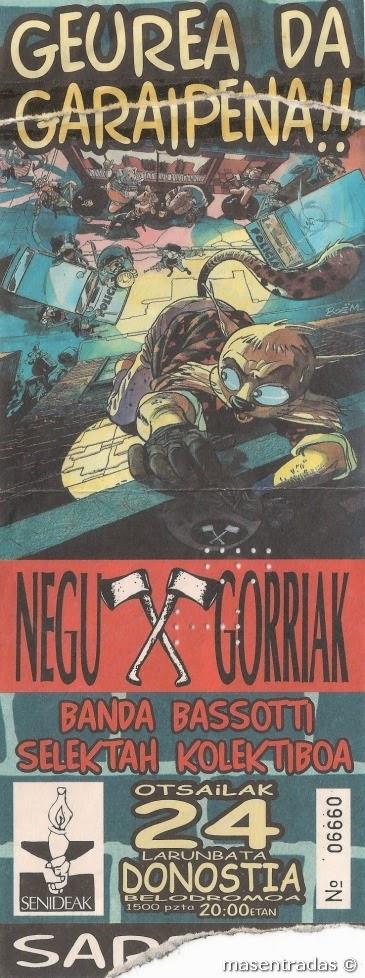 entrada de concierto de negu gorriak