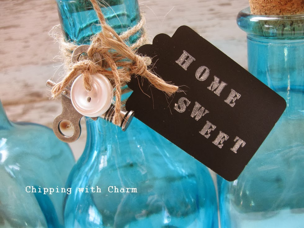 Chipping with Charm:  Blue BotChipping with Charm:  Blue Bottles Pinterest Project...http://www.chippingwithcharm.blogspot.com/