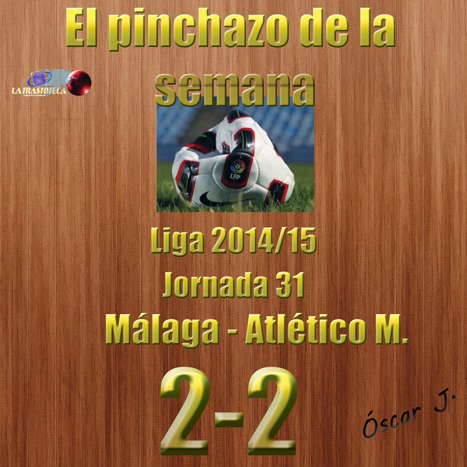 Málaga 2-2 Atlético Madrid. Liga 2014/15. Jornada 31. El pinchazo de la semana.