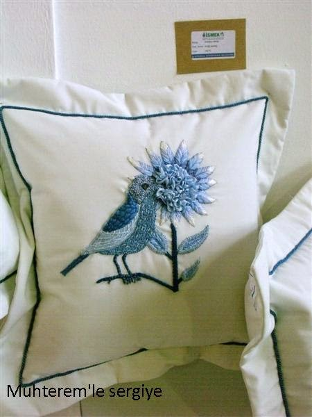ribbon embroidery cushion
