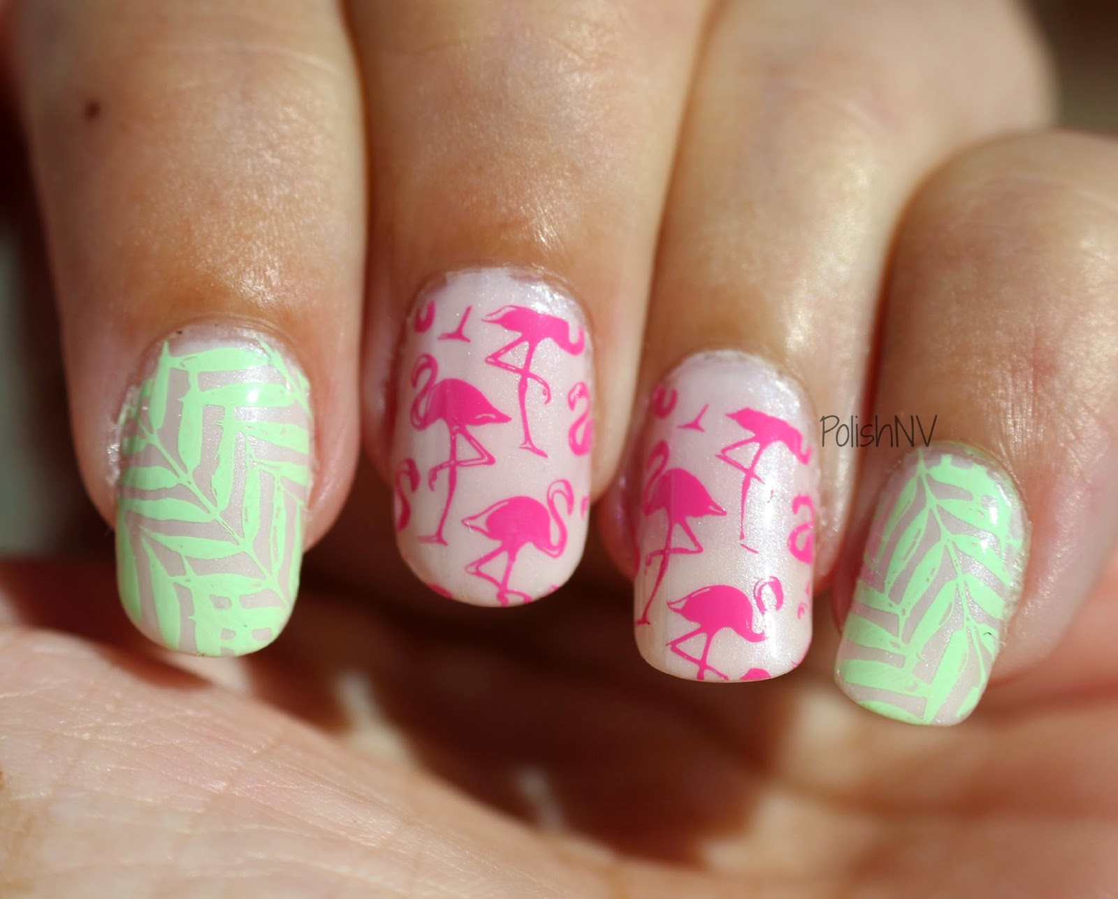Stamping with MoYou Tropical plates and Rica Polishes