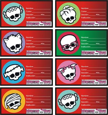 etiquetas para cuadernos de los craneos de las monster high