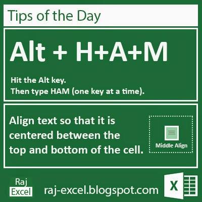 Microsoft Excel 2013 Short Cut Keys: Alt + HAM