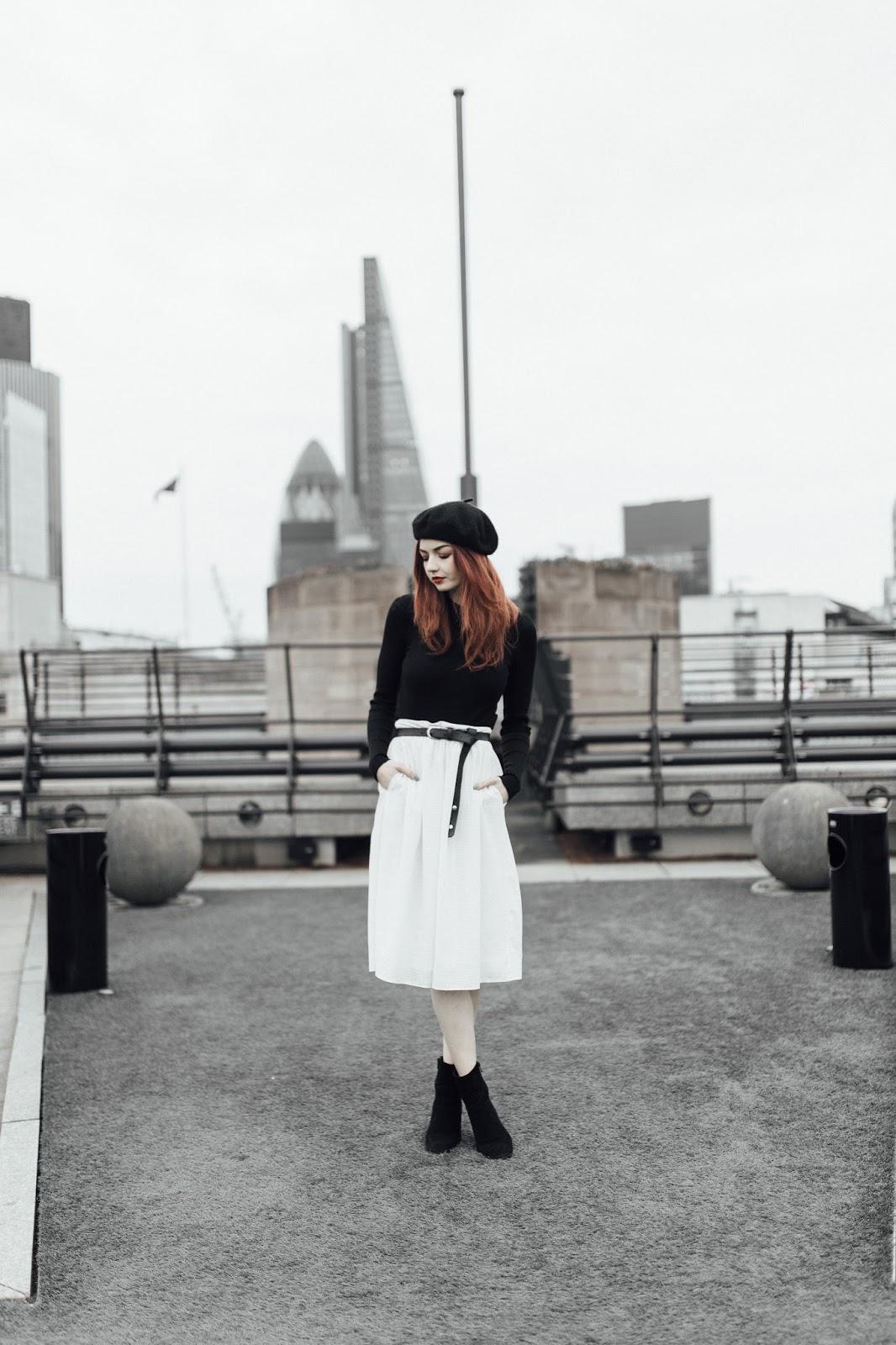 black beret white midi skirt