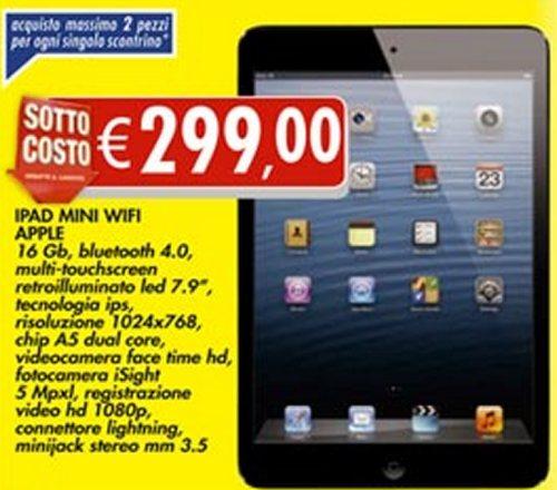 Un risparmio reale del 10% sul costo d'acquisto del tablet sottile e leggero di Apple ovvero l'iPad Mini
