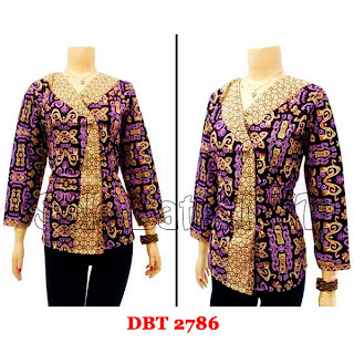 DB2786 Baju Bluse Batik Wanita Terbaru 2013