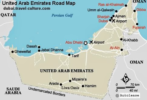 road map of the united arab emirates showing the triangle of abu dhabi dubai