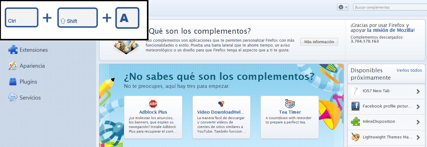 Administrador de Complementos Firefox