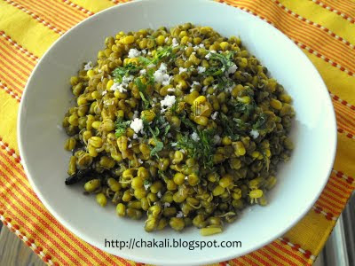 mugachi usal, moong beans usali, mung beans recipe, sprouted mung beans, indian mung curry