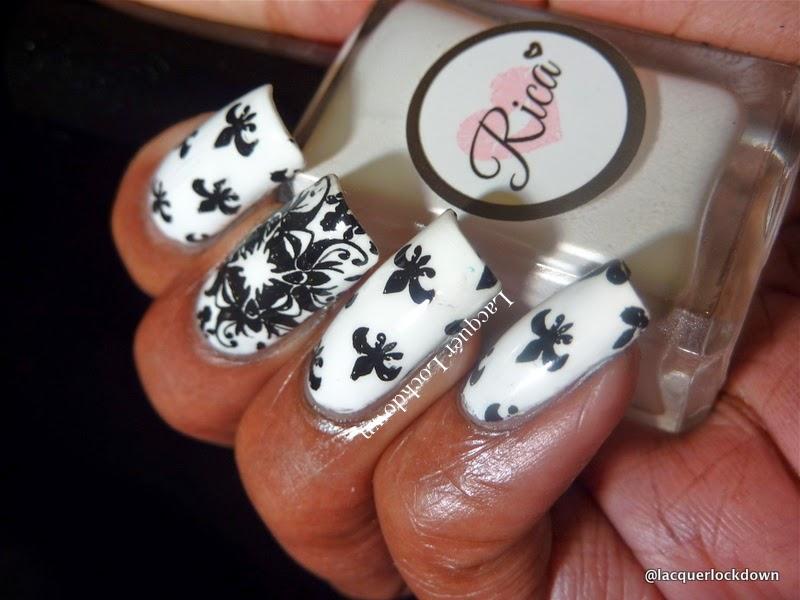 Lacquer Lockdown - nail art stamping polishes, stamping polish, Rica Whiteout, Rica Whiteout review. Loja BBF, BBF07, fleur de lis nail art, floral nail art, abstract nail art