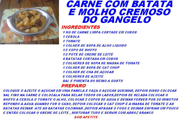 CARNE COM BATATA E MOLHO CREMOSO