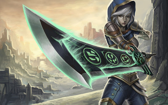 riven redeemed skin splash art league of legends girl hd