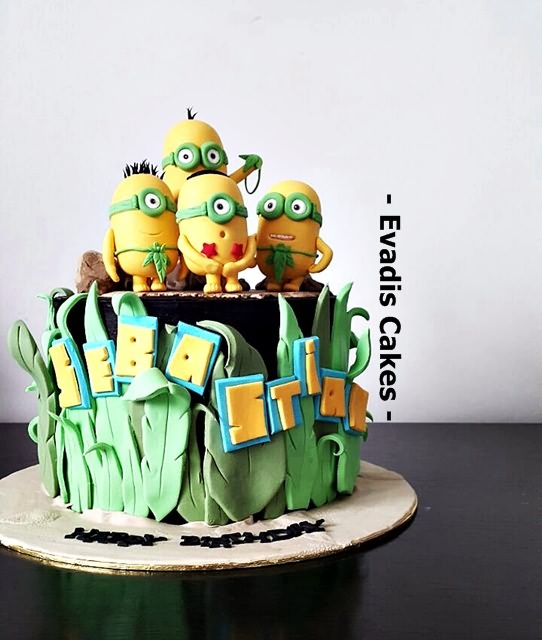 Picture of closer view for Minions cake
