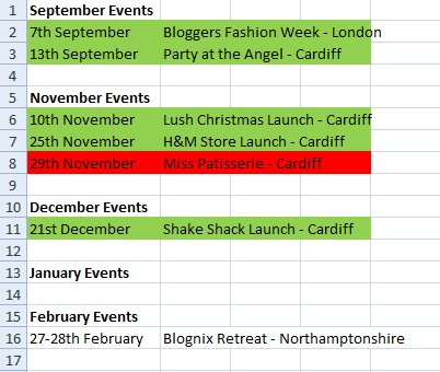 Spreadsheet Blogging Events