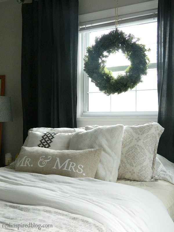 Rustic Christmas Home Tour 2015 gray and white master bedroom with wreath
