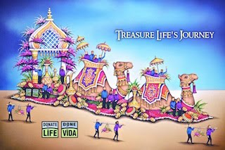 "2016 Donate Life Rose Float ""Treasure Life's Journey"""