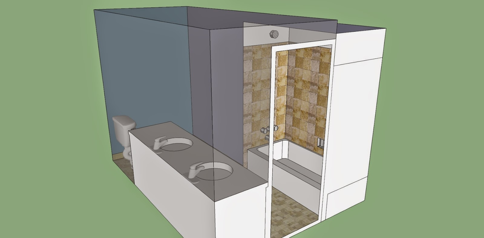 sketch of bathroom tile remodel, floor tile, shower, bath, baseboard