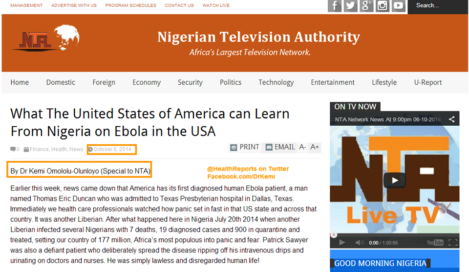 Read my NTA (Nigerian TV) Article on #EBOLA