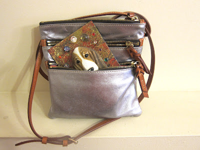 silver leather purse