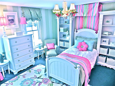 girls room, girl's room, pink and green, paint, stripes, pink, blue, green, decorating, design, interior design, interior decorating